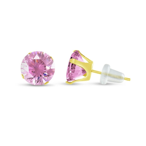 10K Yellow Gold Round Pink CZ Stud Earrings