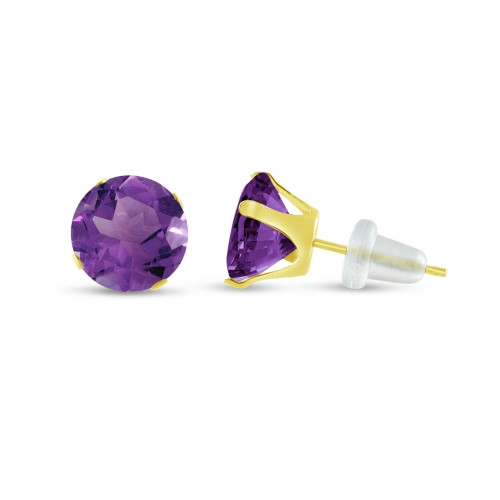 10K Yellow Gold Round Violet Purple CZ Stud Earrings