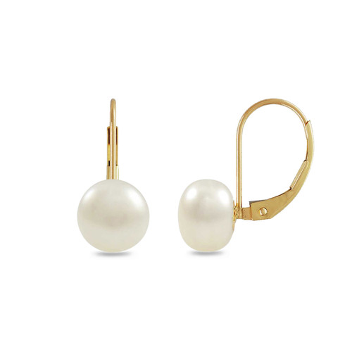 8mm Freshwater Button Pearl Lever Back Earring - 14K Gold