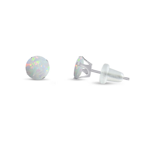 Round Synthetic Fiery White Opal in 10k White Gold Stud Earrings