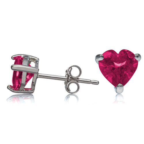 Sterling Silver Stud Earrings Rhodium Plated Created Red Ruby 6x6mm Heart Shaped