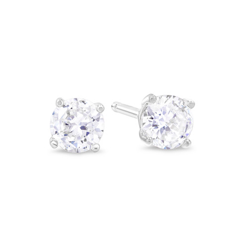 Rhodium Plated Sterling Silver Stud Earrings for Women and Men, Round Brilliant Cut CZ Cubic Zirconia in .925 Silver Basket Setting