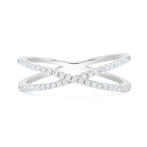 Sterling Silver Criss Cross X Ring Simulated Diamond CZ Ring for Women