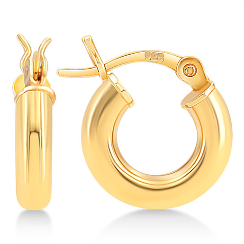 Gold Plated Sterling Silver 3mm Hoop Earrings for Women