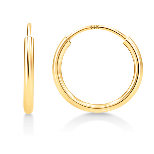14K 1mm Endless Tube Hoop Earrings, High Polish