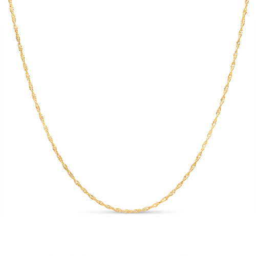 Gold Plated Sterling Silver 2mm Singapore Twisted Curb Link Necklace Chain