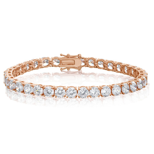 Cubic Zirconia Tennis Bracelet Rose Gold Plated  5x5mm Round White CZ