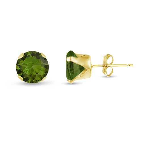 Olive Green CZ Round Stud Earrings in Gold over Silver