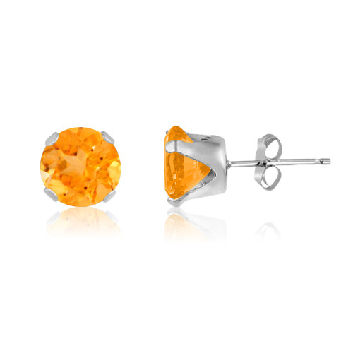 Simulated Golden Citrine Round Stud Earrings in Sterling Silver