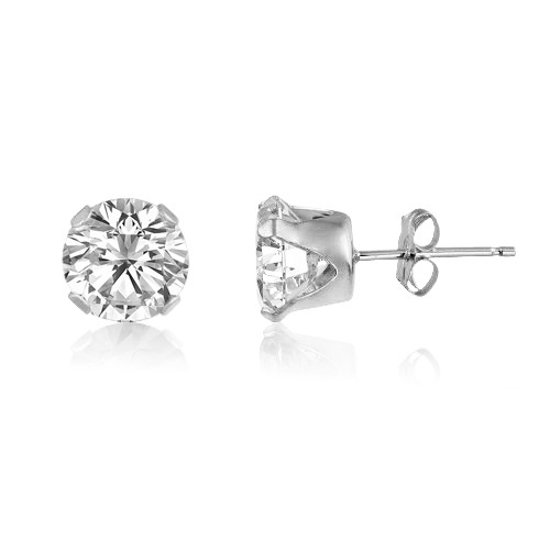 White CZ Round Stud Earrings in Sterling Silver