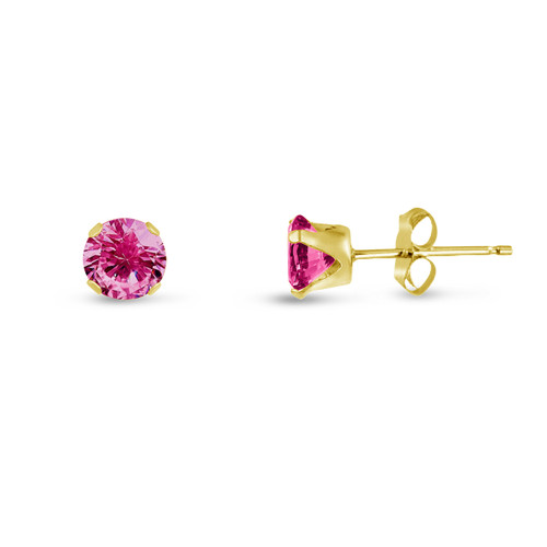 Created Pink Sapphire Round Stud Earrings in Gold over Silver