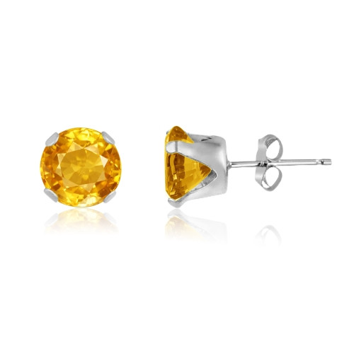 Golden Yellow CZ Round Stud Earrings in Sterling Silver