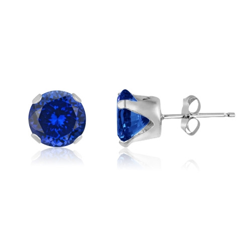 Simulated Tanzanite Blue CZ Round Stud Earrings in Sterling Silver