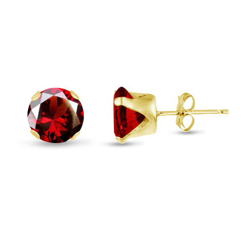 Simulated Red Garnet CZ Round Stud Earrings in Gold over Silver