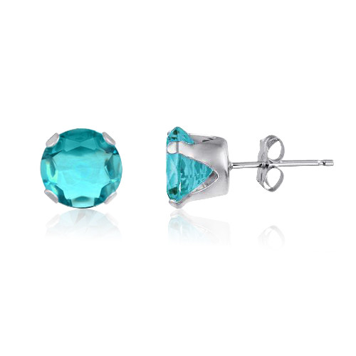 Simulated Aquamarine CZ Round Stud Earrings in Sterling Silver