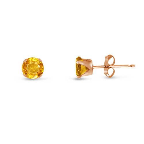 Golden Yellow CZ Round Stud Earrings in Rose Gold over Silver