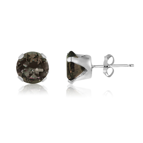 Genuine Smokey Quartz Round Stud Earrings in Sterling Silver
