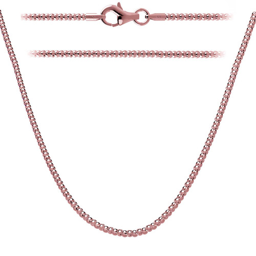 Rose Gold Plated Sterling Silver 925 Italian Popcorn Chain 2mm w/ Lobster Clasp