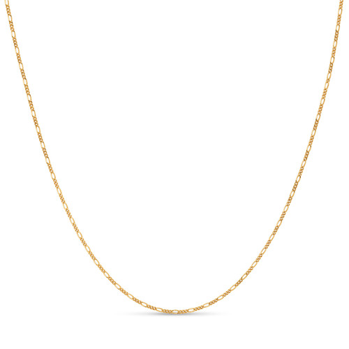 Gold Plated .925 Sterling Silver 1.7mm Italian Figaro Chain Bracelet