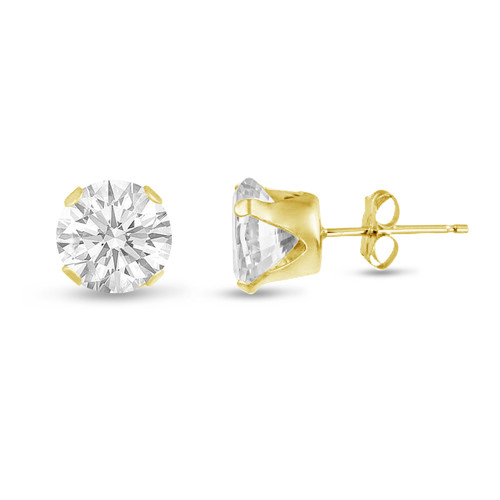 White CZ Round Stud Earrings in Gold over Silver