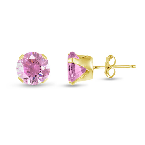 Pink CZ Round Stud Earrings in Gold over Silver