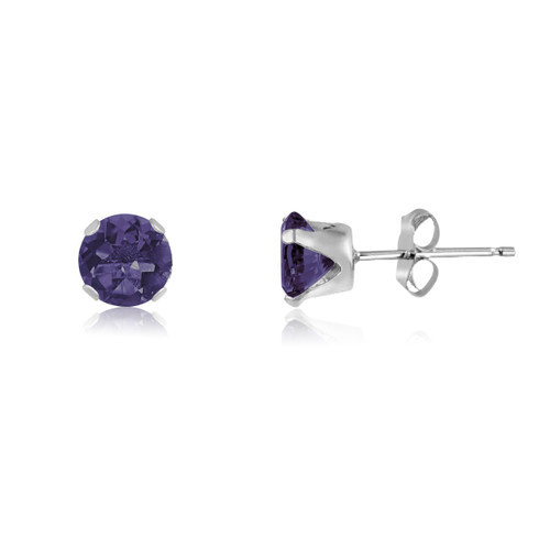 Simulated Amethyst CZ Round Stud Earrings in Sterling Silver