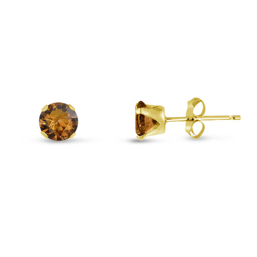 Coffee Brown CZ Round Stud Earrings in Gold over Silver
