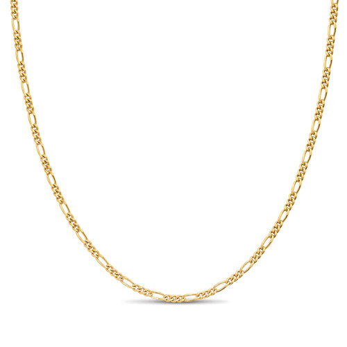 Gold Plated Italian Sterling Silver 2mm Figaro Chain 8 Inch Bracelet