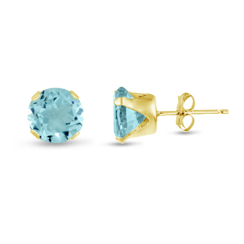 Simulated Aquamarine CZ Round Stud Earrings in Gold over Silver