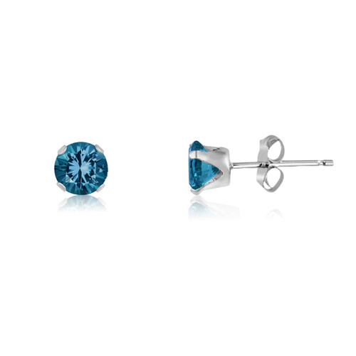 Simulated Blue Zircon CZ Round Stud Earrings in Sterling Silver