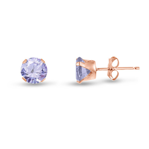 Lavender CZ Round Stud Earrings in Rose Gold over Silver