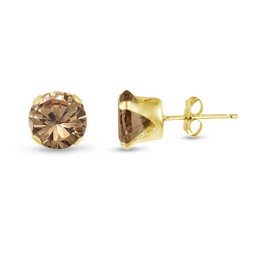 Champagne CZ Round Stud Earrings in Gold over Silver
