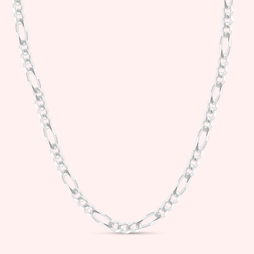 Solid .925 Sterling Silver 7mm Men's 200 Figaro Chain Necklace