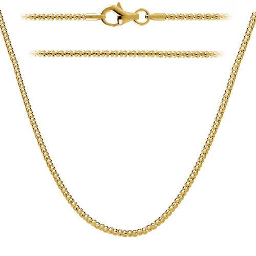 Gold Plated Sterling Silver 925 Italian Popcorn Chain 2mm w/ Lobster Clasp