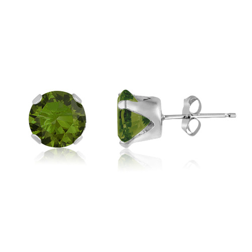 Olive Green CZ Round Stud Earrings in Sterling Silver