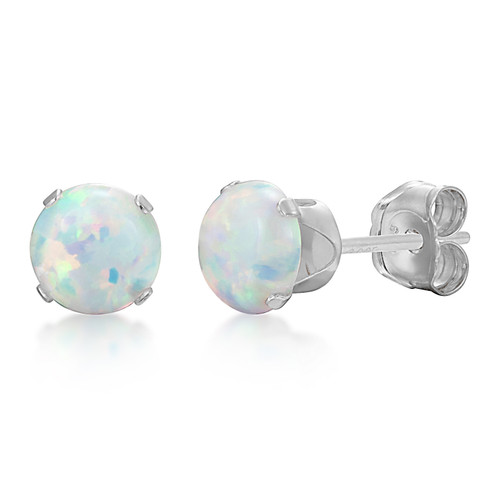 Synthetic White Fire Opal Round Stud Earrings in Sterling Silver