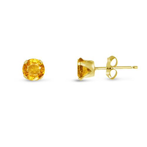 Golden Yellow CZ Round Stud Earrings in Gold over Silver