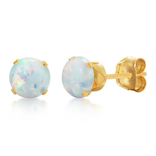 Synthetic White Fire Opal Round Stud Earrings in Gold over Silver