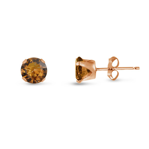 Coffee Brown CZ Round Stud Earrings in Rose Gold over Silver