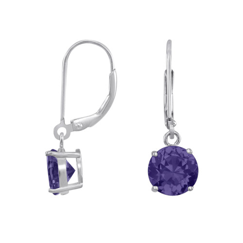 Sterling Silver Dangling Round Purple Amethyst CZ Leverback Earring -Choose Size