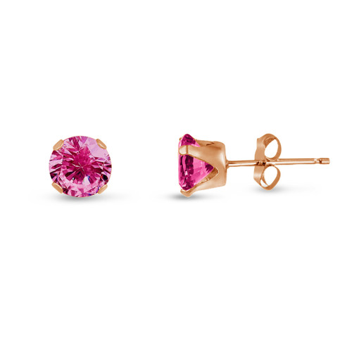 Created Pink Sapphire Round Stud Earrings in Rose Gold over Silver