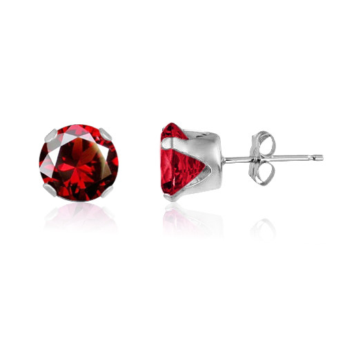 Simulated Red Garnet CZ Round Stud Earrings in Sterling Silver