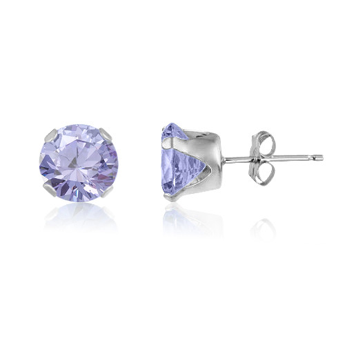 Lavender CZ Round Stud Earrings in Sterling Silver