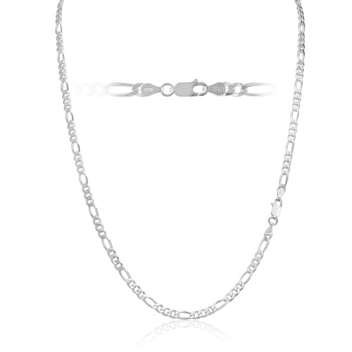 Solid .925 Sterling Silver 3.5mm Men's 100 Figaro Chain Necklace