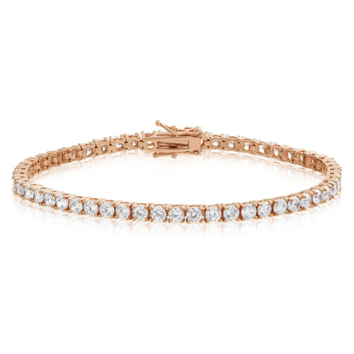 Cubic Zirconia Tennis Bracelet Rose Gold Plated  3x3mm Round White CZ
