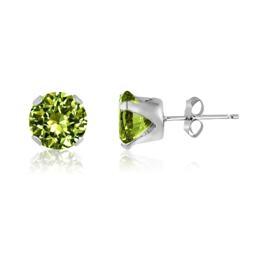 Lime Green CZ Round Stud Earrings in Sterling Silver
