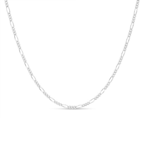 Solid .925 Sterling Silver 3mm Men's 80 Figaro Chain Necklace