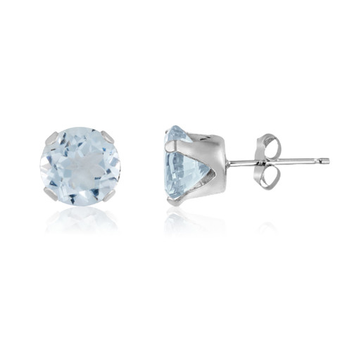 Simulated Aquamarine Round Stud Earrings in Sterling Silver