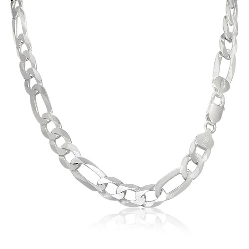 Solid .925 Sterling Silver 9.5mm Men's 220X Figaro Chain Necklace