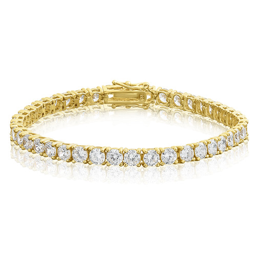 Round Cut 4mm CZ Sterling Silver Tennis Bracelet - Gold Plated